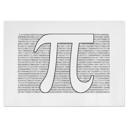 Number Of Pi Tempered Glass Chopping Board - White